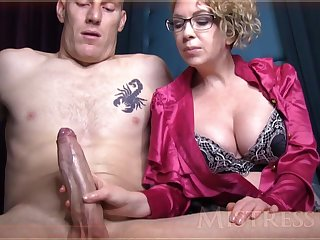 Wild matured girl with blondie crawl and glasses is groping manhood in front of slay rub elbows with camera